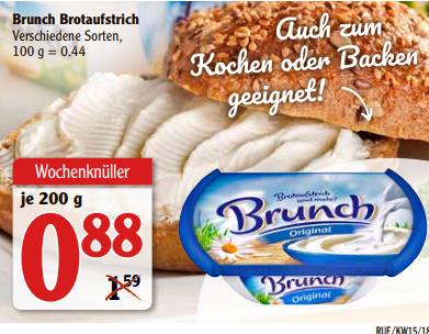 [Rüsselsheim] Brunch Brotaufstrich versch. Sorten 200g für 0,38€ (Angebot+Coupon) bei Globus