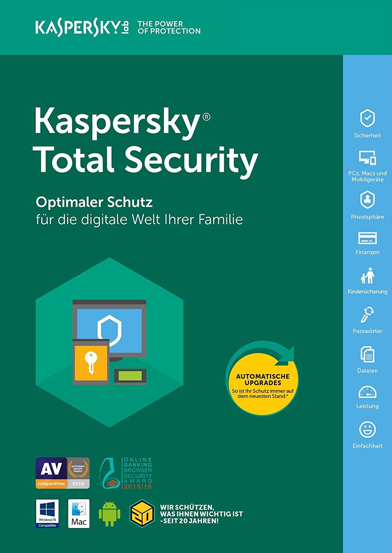Kaspersky Total Security 2018 5 Geräte | 1 Jahr Windows/Mac/Android