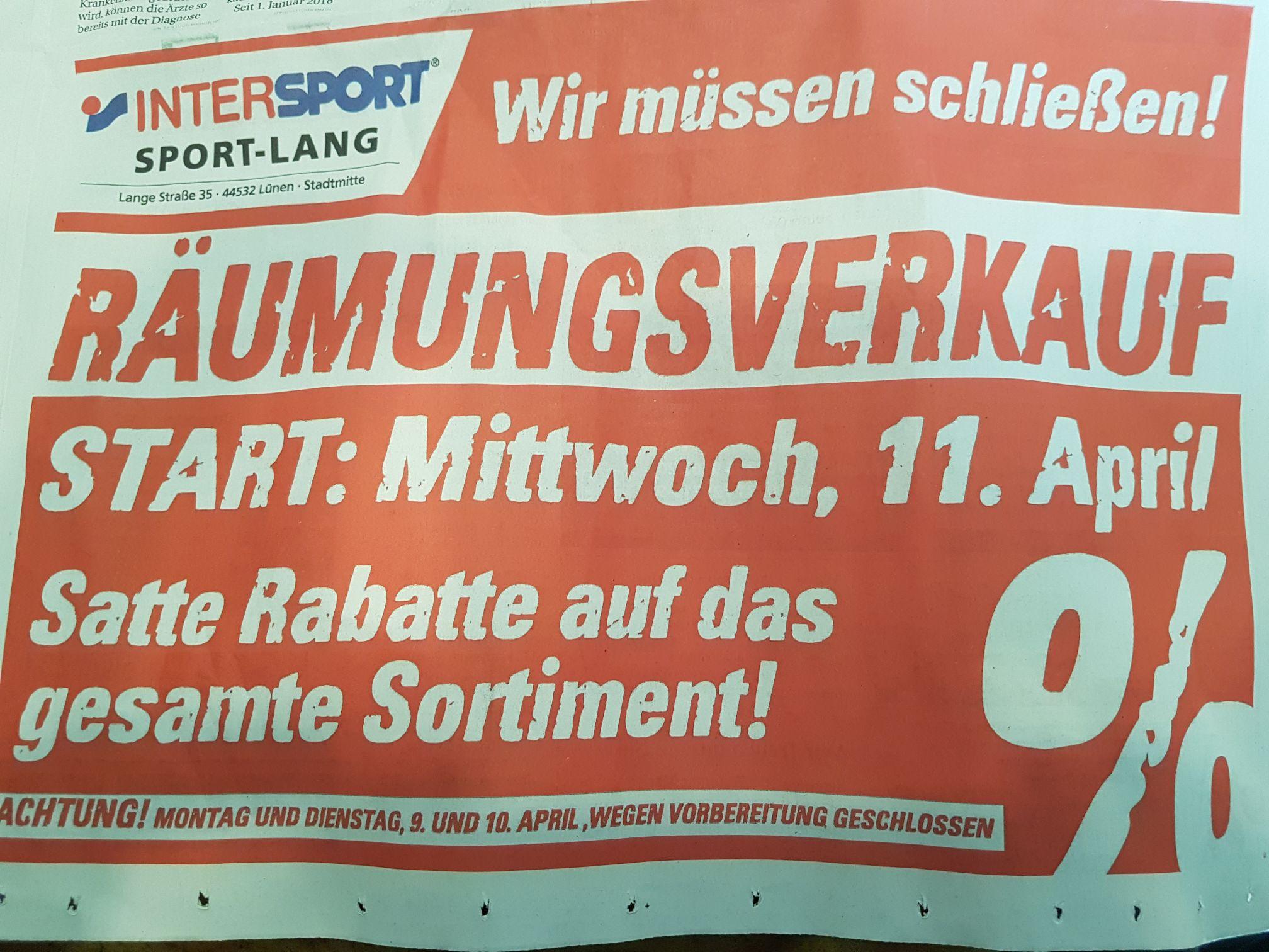 Intersport Sport-Lang in Lünen macht Räumungsverkauf