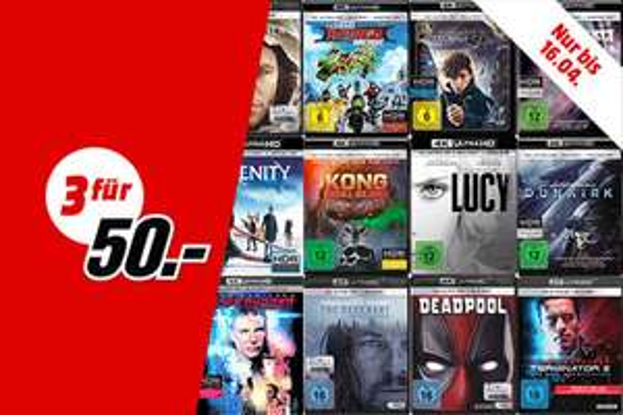 3 für 50 Mediamarkt 4K UHD Blu-Ray Aktion