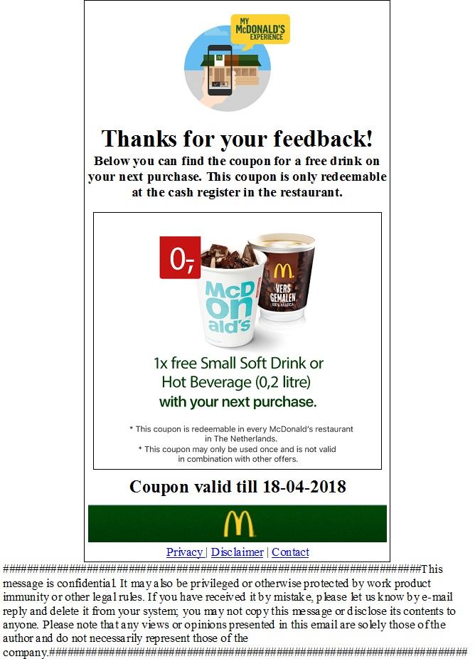 [NL lokal McDonalds] free small Soft Drink oder kleines Heißgetränk