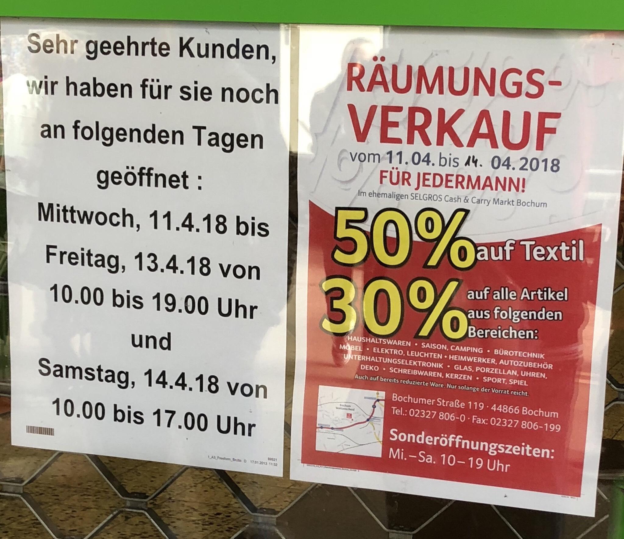 Räumungsverkauf Selgros Bochum ( Lokal )