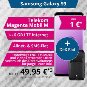 Samsung Galaxy S9 / S9+ mit Telekom Magenta Eins Young Mobil M/L + Samsung Dex Pad einmalig 1 Euro