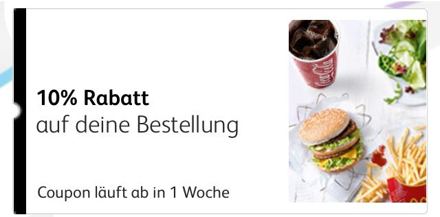 [McDonalds] 10% auf die Bestellung Gutschein ohne MBW