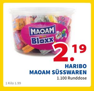 [2Bruder Venlo] Für Grenzgänger Haribo Maoam 1100g Runddose (50 Würfel, 1,99€ / kg)