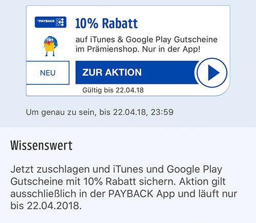 10% auf iTunes und Google Guthaben in der Payback App - mit Punkten zahlbar