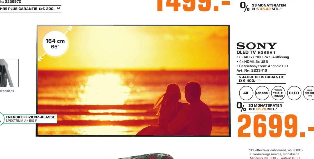 [Lokal Saturn Herford] Sony KD-65A1 165 cm 65 Zoll Oled 4k