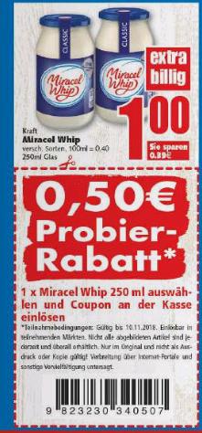 [EDEKA Region Minden/Hannover] Miracel Whip 250ml Glas für 0,50€ (Angebot+Coupon), gültig vom 09.04. - 15.04.2018