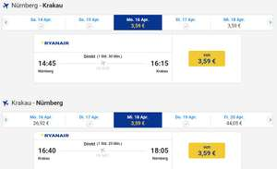 Ryanair Nürnberg-Krakau-Nürnberg 16.-18. April incl. Transfer KRK/Stadt/KRK