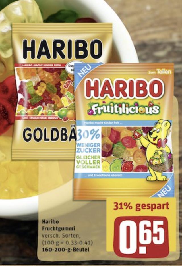 Haribo normal -,65€ / zuckerreduziert für -,35€ (max. 2 p.P. über Coupies) bei Rewe, Sky und Famila
