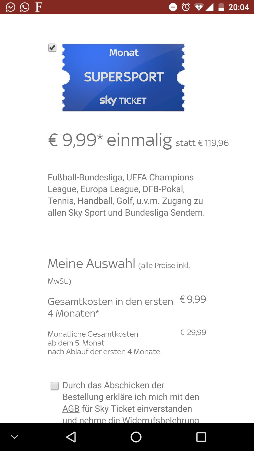 Sky Supersport Ticket für 4 Monate [9,99€]