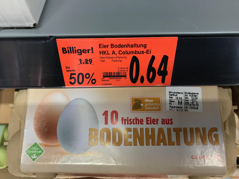 [Kaufland lokal?] 10 Eier aus Boden- oder Freilandhaltung für 0,64 € oder 1,- €