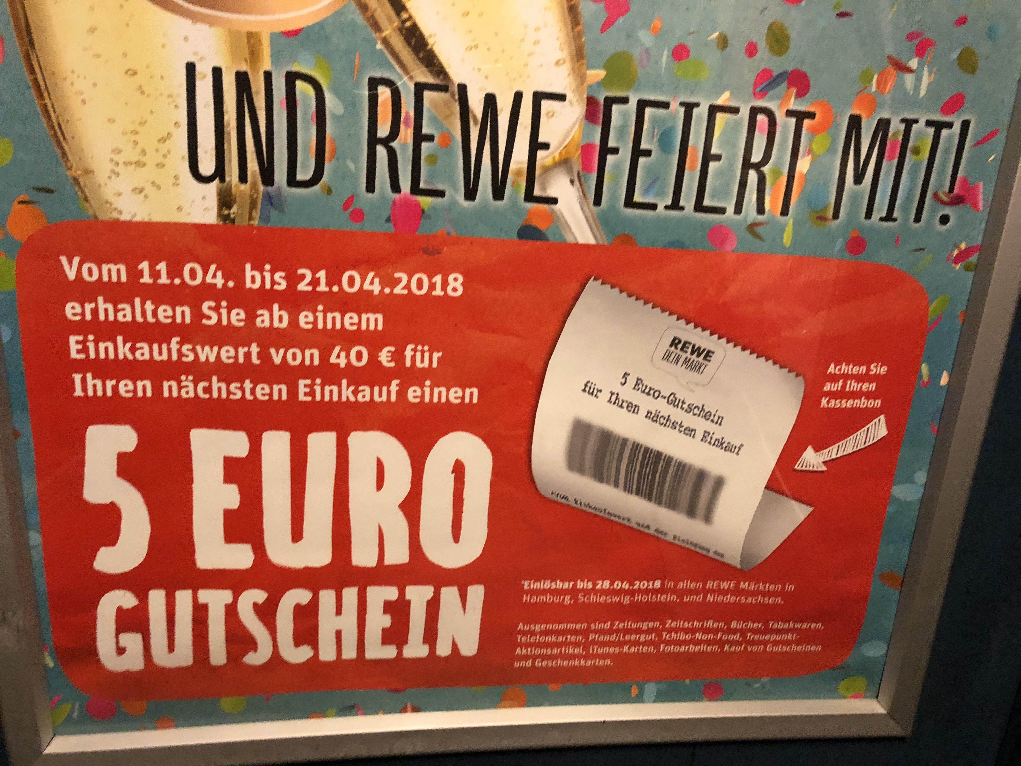 [Regional] [HH, SH, NS] REWE: 5€ Gutschein bei einem 40€ Einkauf.