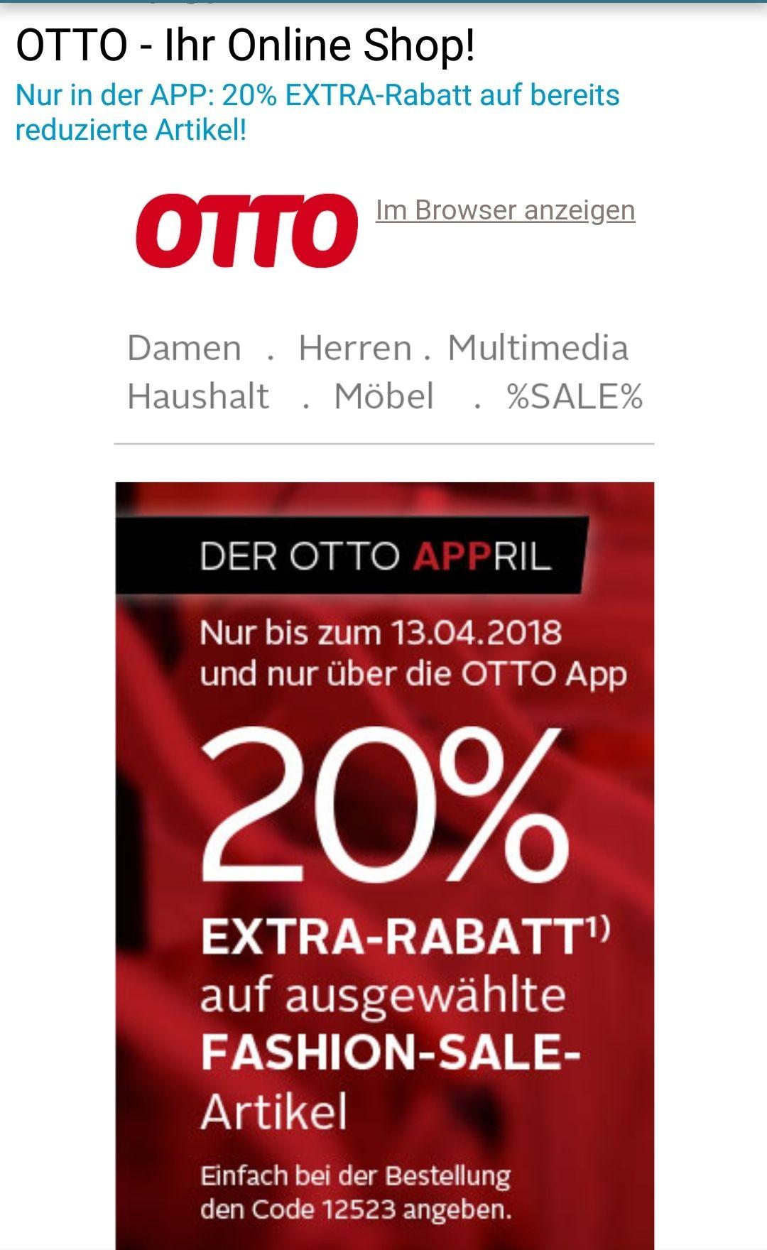 Otto.de APP - 20% extra auf ausgewählte bereits reduzierte Fashion