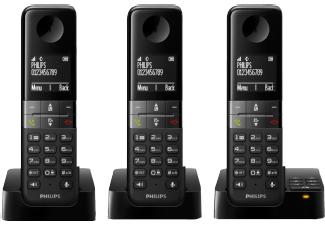 PHILIPS D4553B/39 Telefon mit 3 Mobilteilen