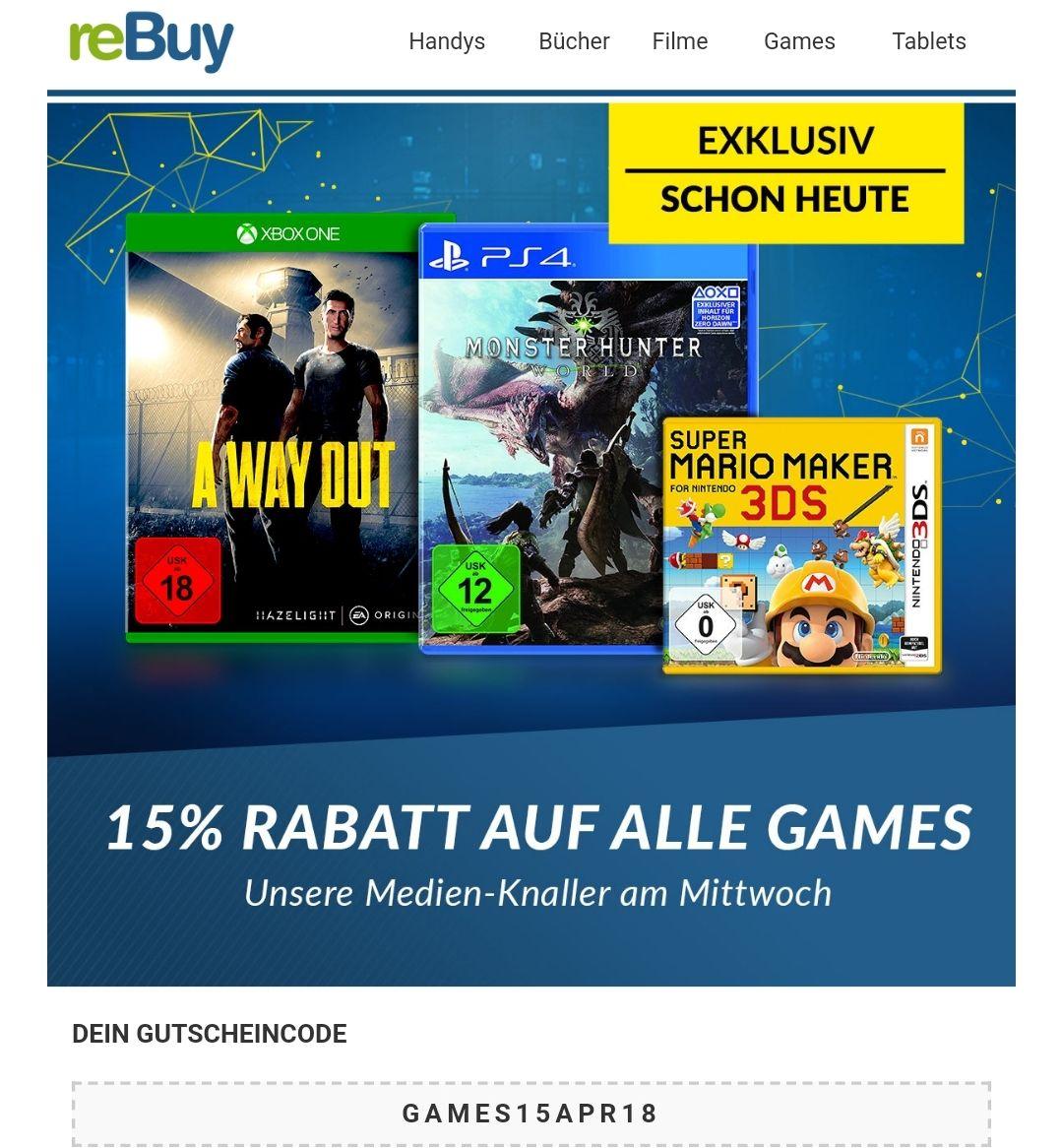 15% Rabatt auf alle Games (20€ MBW) [Rebuy.de]