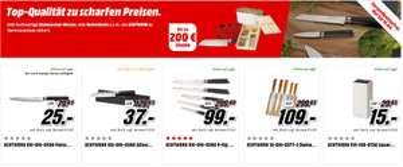Media Markt Echtwerk Messer & Besteck Sale! zB Messer-Set EW-DM-0390 5-tlg.  99€ statt 115€