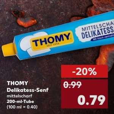 [KAUFLAND bundesweit 12.04 - 18.04] 3x Thomy Senf 200ml Tube für 1,37€ (Angebot + Coupon)