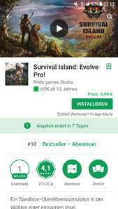 Survival Island: Evolve Pro! von Google Playstore