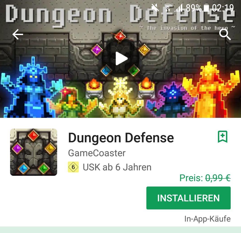 Dungeon Defense kostenloses Spiel bei Playstore