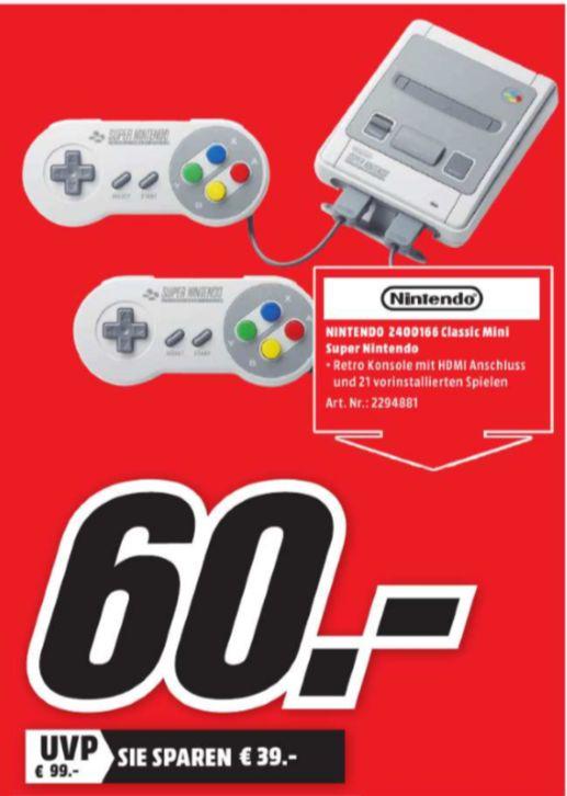 [Regional Mediamarkt Limburg] Nintendo Classic Mini: Super Nintendo SNES für 60,-€