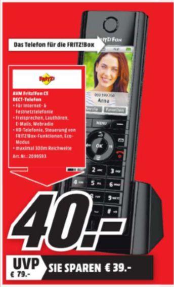 [Regional Mediamarkt Limburg] AVM FRITZ! Fon C5 DECT,mit Anrufbeantworter via FRITZ!Box Fon, schwarz für 40,-€