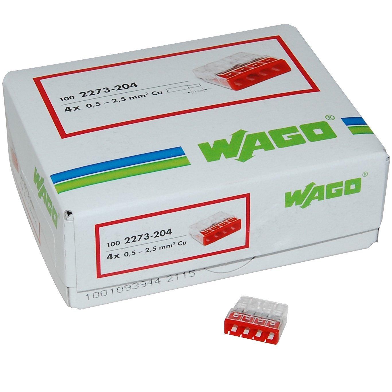 Amazon (Prime): 100 Stück Wago automatische 4-Leiter Compact-Verbindungsklemmen 4x0.5-2.5mm² (nur Vorbestellung)