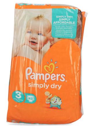 Pampers Simply Dry Windeln Größe 3 - 90 Stück - Stückpreis 14,4 Cent - versandkostenfrei