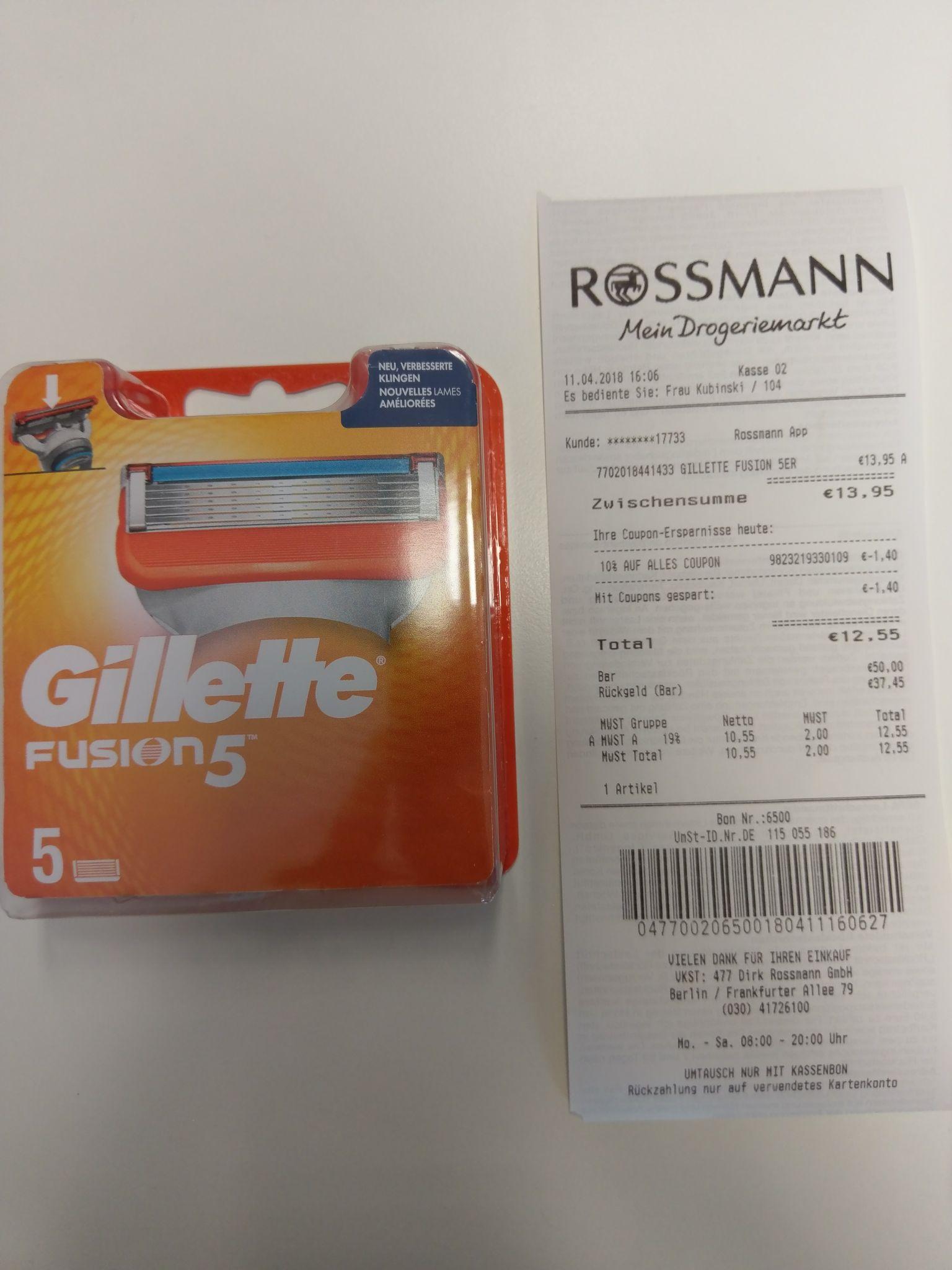 Rossmann: Gillette Fusion 5er