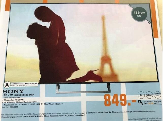 SONY KD 55 XE 8505 - AKTION- VK: 849,- € & SONY WH1000-XM2 für 249,-€ Saturn Göttingen