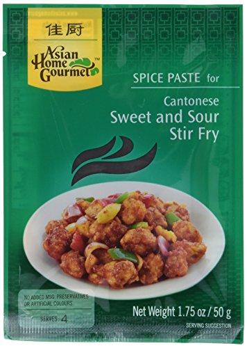( Amazon Prime ) 12x Asian Home Gourmet Kantonesisches süßsaures Pfannengericht, (12 x 50 g)