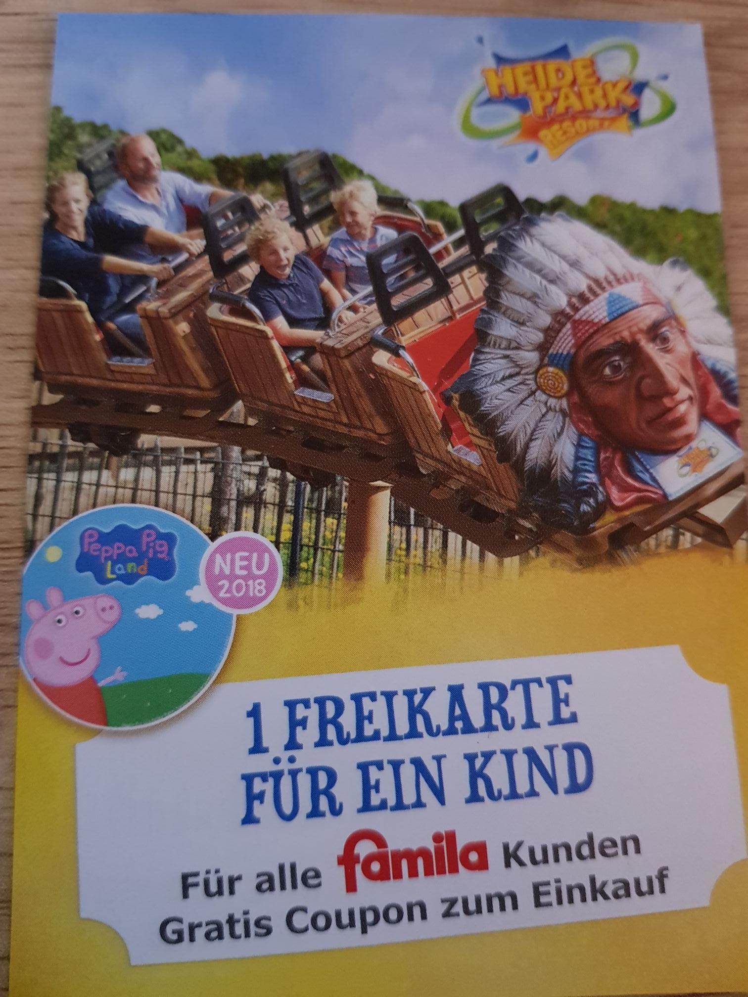 Famila Hamburg Heidepark Freikarte für 1 Kind
