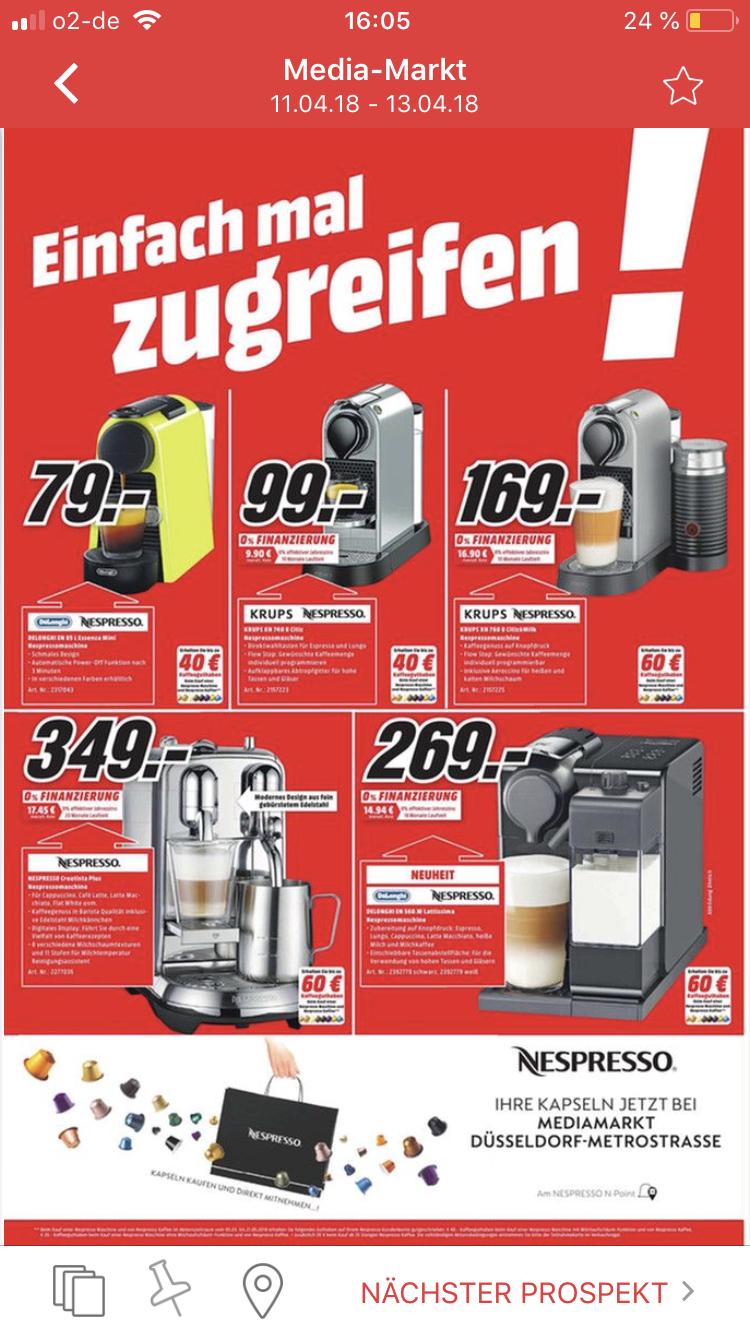 (Lokal in Düsseldorf) Nespresso creatista Plus bei Media Markt