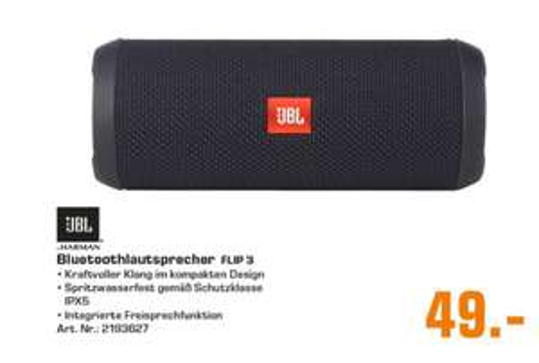 [Regional Saturn Braunschweig] JBL Flip 3 Sonder Edition Deep Black Bluetooth Lautsprecher für 49,-€