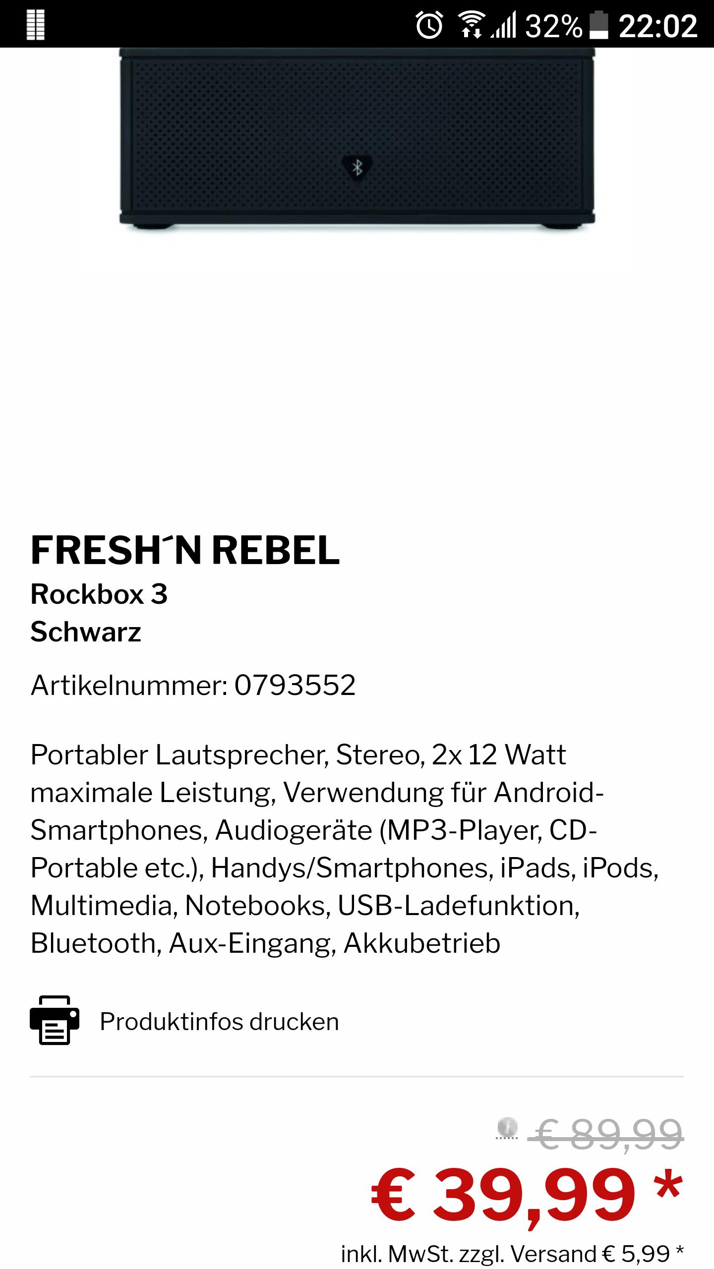 [Medimax Online/Bestpreis] Fresh'n Rebel Rockbox 3 Bluetooth Lautsprecher / Schwarz / 24 Stunden Akkulaufzeit / 2x 12Watt + Passiver Bassradiator / 5 € Abzug bei Newsletteranmeldung