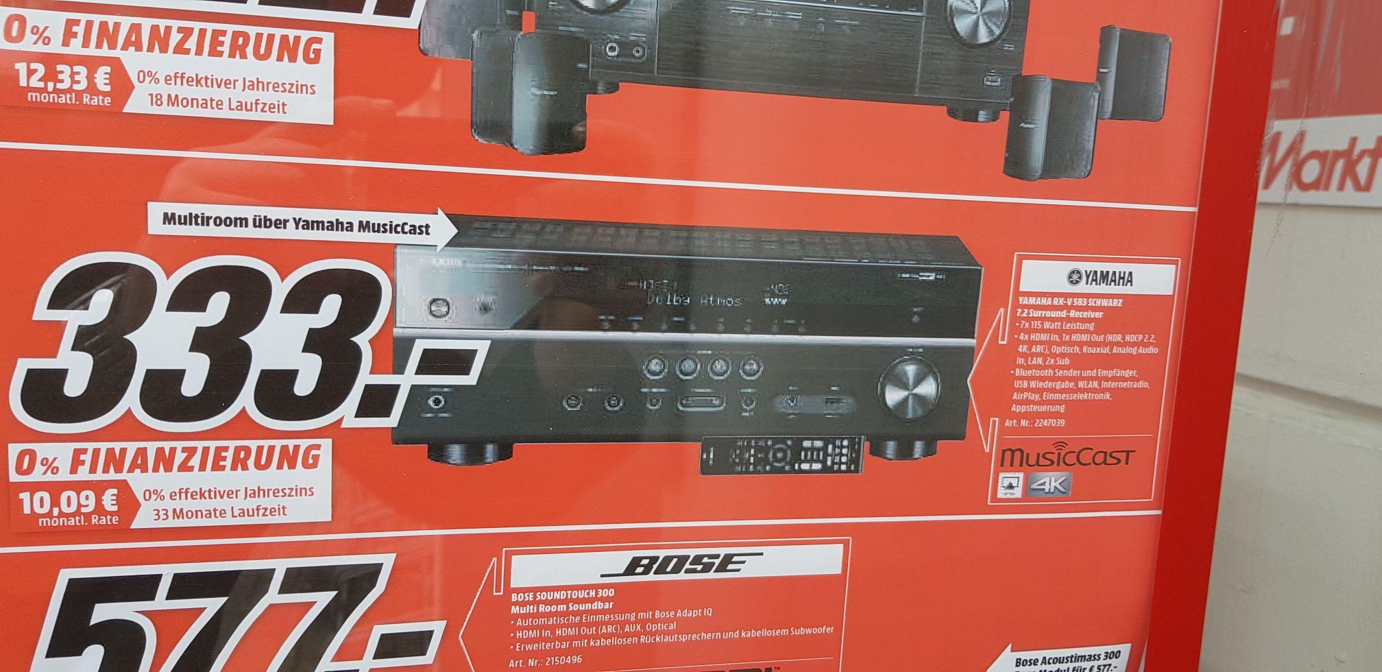 [Lokal Media Markt Belm] Yamaha RX V  (RXV, RXV583, RX V) 583 7.2 Surround Receiver mit Multiroom über MusicCast