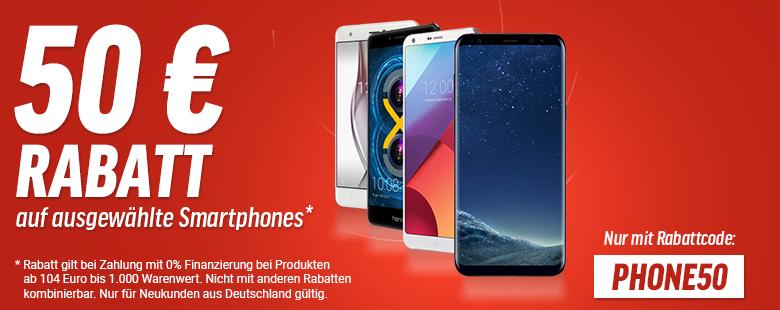 50€ Rabatt auf ausgewählte Smartphones