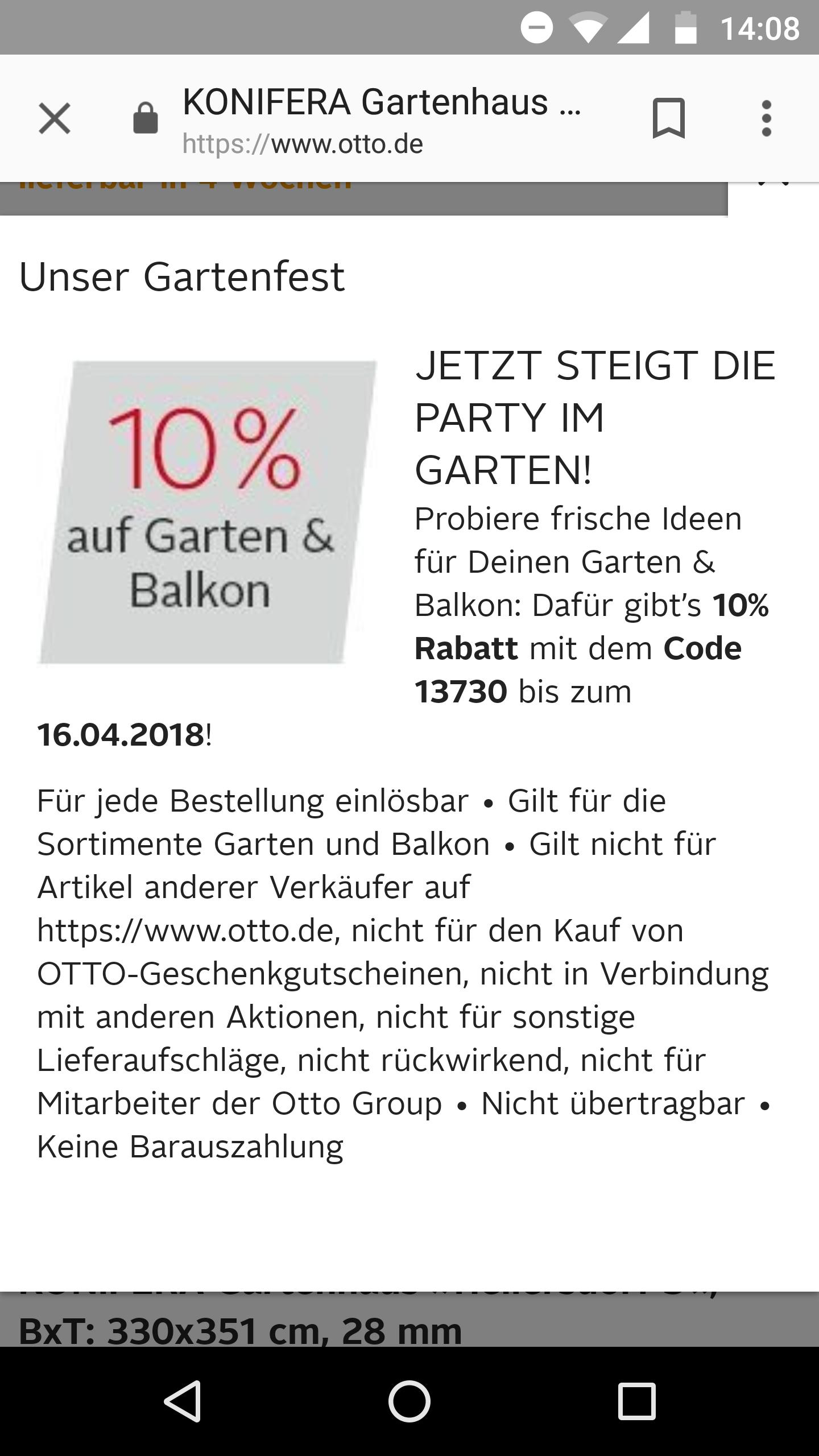 Otto: 10% Rabatt auf Garten und Balkon für alle Kunden
