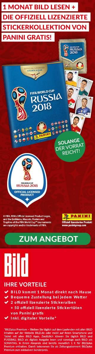 4 Wochen BILD im Abo + GRATIS: 250 Panini WM 2018 Sticker + 2 Alben