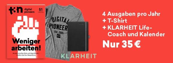t3n Abo plus KLARHEIT Kalender & Life-Coach zum Preis von einem!
