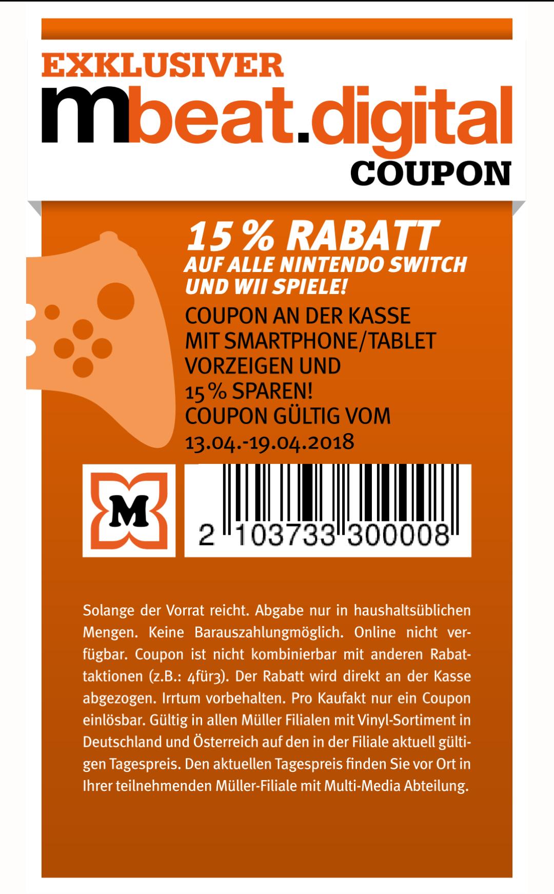 [Müller offline] 15% Gutschein auf Nintendo Switch- und Wii-Spiele
