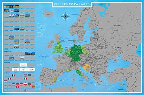 [Amazon] Landkarte Europa zum Freirubbeln I 89 x 59 cm | Deutsch [ca. 44% Ersparnis]
