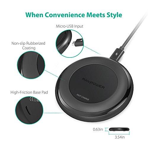 Amazon Prime: Wireless Charger RAVPower Qi kabellose Schnellladegerät mit Temperaturüberwachung / neueste Version Induktionsladegerät 7.5W für iPhone 8/8 Plus, iPhone X und 10W für Samsung Galaxy S8/S8 Plus, Note 8