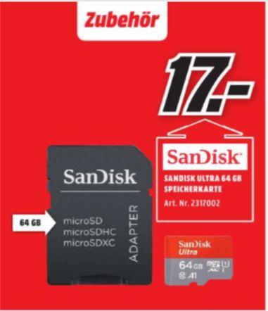 [ Regional Mediamarkt Amberg /Weiden] SanDisk Ultra 64GB microSDXC Speicherkarte + Adapter bis zu 100 MB/Sek., Class 10, U1, A1 für 17,-€