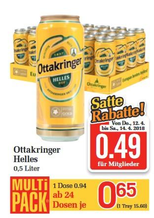 [lokal Österreich] 24x 0,5l Ottakringer Helles Bier für 11,76€ (0,49€ pro Dose - pfandfrei)