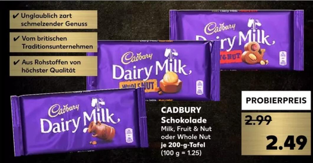 CADBURY Schokolade|| Milk || Fruit & Nut || Whole Nut zum Probierpreis 2,49€ (Kaufland)