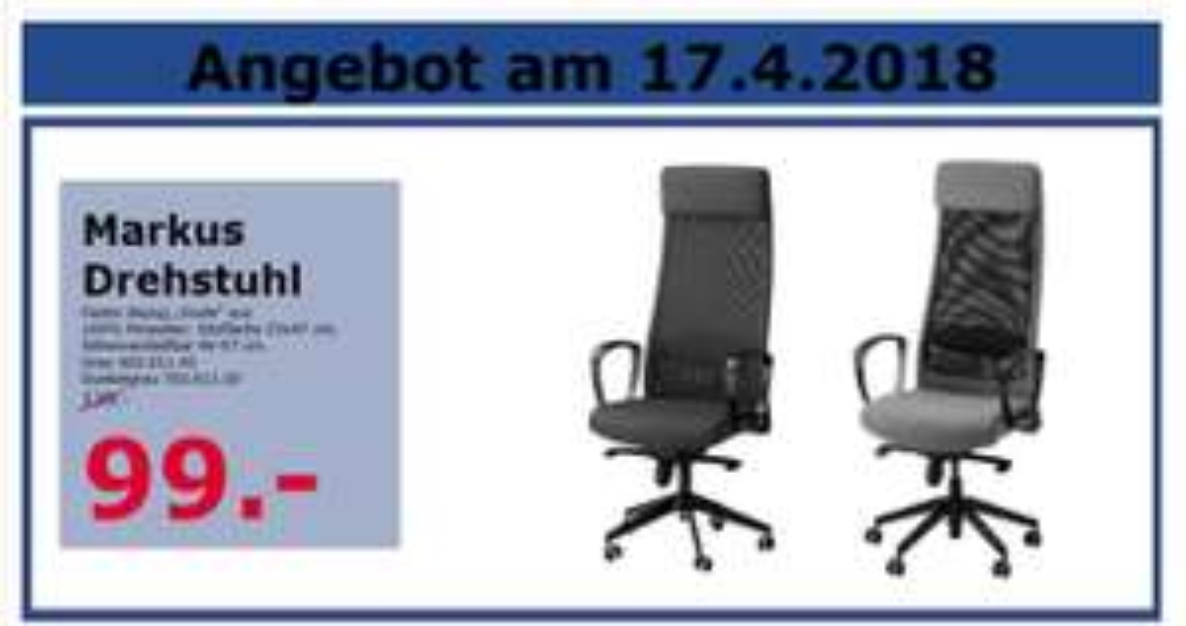 """[IKEA Mannheim] Drehstuhl MARKUS nur 99,00 € in """"grau"""" und """"dunkelgrau""""!"""