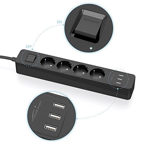 KabelDirekt 4-fach Steckdosenleiste mit 3-fach USB Ladegerät & Überlastschutz