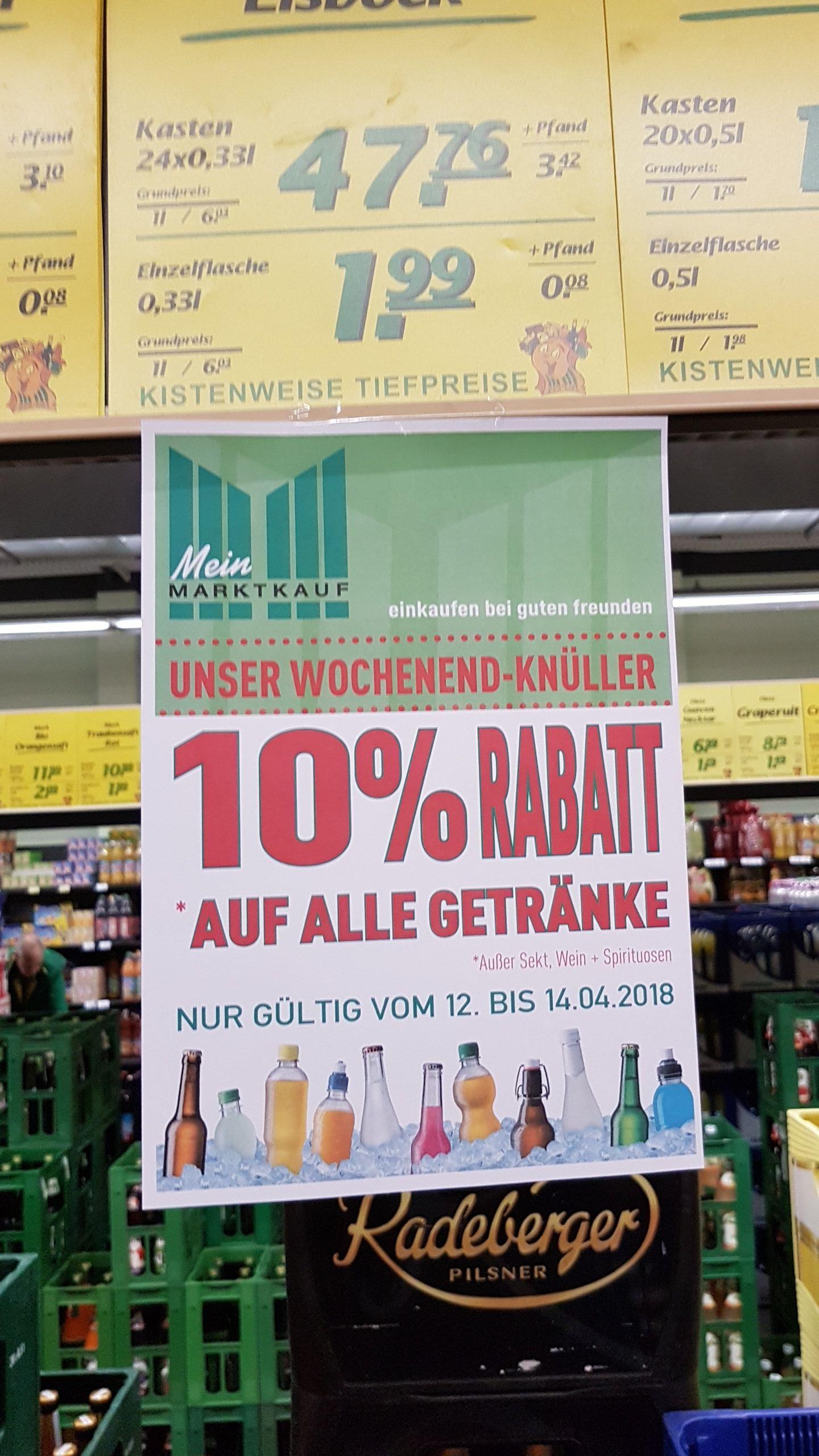 [lokal?]10% auf fast alle Getränke im Marktkauf Stadtbergen/Augsburg z.B. Oettinger 4,50€