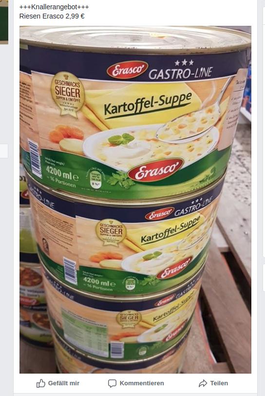 Lokal Gütersloh Megakauf - 4.200 ml Kartoffelsuppe von Erasco für 2,99 Euro